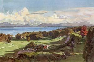 Blick ueber Golfplatz - Postkarte